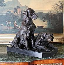 Elegant Bronze Sculpture Pair of Retriever Dogs