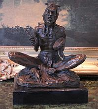 Glorious Bronze Sculpture Seated Native American