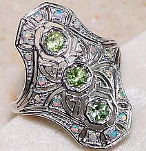 Natural Peridot, Opal & Sterling Silver ring