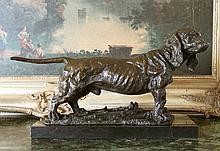 Handsome Dachshund Bronze Sculpture After Debvt