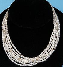 Multi-strand Biwa Pearl Necklace