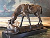 Equestrian Horse and Dog Bronze Sculpture