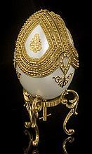 Faberge Inspired White Dove Egg