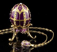 Faberge Inspired Jeweled Egg Box w/ Necklace