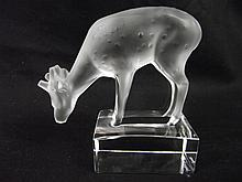 Lalique France Frosted Deer Figurine