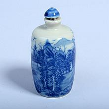 Underglaze Blue Porcelain Snuff Bottle