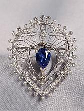 EDWARDIAN PLATINUM AND DIAMOND PENDANT BROOCH MARC