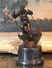 Bronze Sculpture Male Skier
