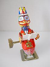 Mechanical Clown Duck Tin Toy