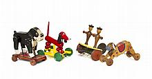 A Collection of Three Wooden Pull Toys