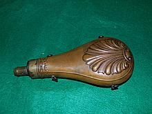 Antique Brass Powder Flask Horn Hawksley Sea Shell