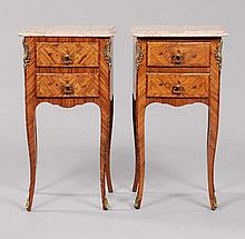 Pair Louis XV-Style Marquetry Side Commodes French