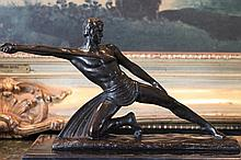 Nude Male Warrior with Spear Bronze Sculpture