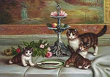 5 x 7 Oil on Board ~Kittens at Play~