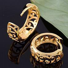Lovely Gold Tone Filigree Hollow Hoop Earrings