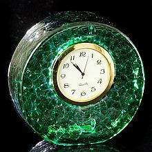 Emerald Green Art Glass Desk Clock