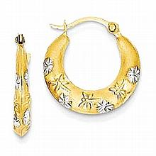 14K Gold Hollow Hoop Dragonfly Earrings