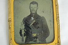 TIN TYPE. CIVIL WAR SOLDIER W/ SWORD