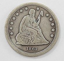 1862 Liberty Seated Quarter Dollar