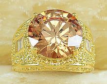 Huge Golden Faceted Citrine Topaz Ring