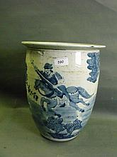 Huge C19th Chinese blue & white pottery jardiniere