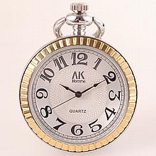 AK Homme Stainless Steel Two-Tone Pocket Watch