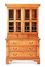 19th c American Cherry writing desk, bookcase.