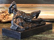 Grandoise Reclining Male Nude Bronze Sculpture