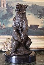 Striking Grizzly Bear Bronze Sculpture