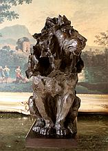 ENORMOUS 50LB Bronze Lion with Blowing Mane