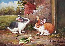 5 x 7 Oil on Board ~Bunnies at Play~ Signed