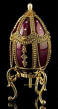 Faberge Inspired Scarlet & Golden Egg