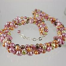 Multi Color Freshwater Pearl Four Strand Necklace