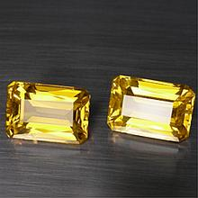 MATCHING 12.90 CT. EMERALD CUT GOLDEN CITRINES