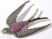 Diamond, Gemstone Bird Brooch, Pin