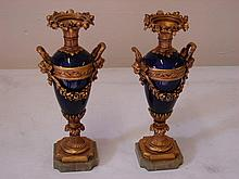 Pair Gilt metal Sevres style vases on Marble Base