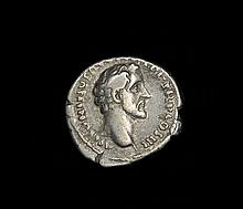 Ancient silver Roman denarius of Emperor Antoninus