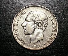 Spanish 2 Pesetas Silver Coin, 1884
