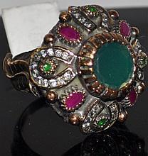 Vintage Emerald & Ruby Turkish Statement Ring