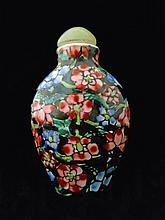 Chinese Qianlong Porcelain Floral Snuff Bottle