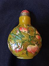 Hand-painted Peking Overlay Glass Snuff Bottle