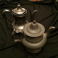 Set of Two Antique Pewter & Silverplate Teapots