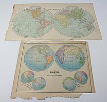 Set of 2, 19thc World Hemisphere Maps