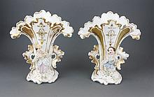 Pair of mid 19thc French Porcelain Flair Vases