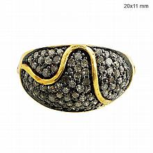 Vintage Natural Pave Diamond Domed Ring