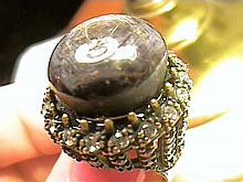 Bold Black Gray Star Sapphire Cabochon Ring