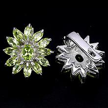 42.02 ct VVS Natural Green Peridot Floral Earrings