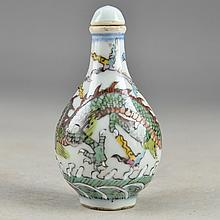 Porcelain Snuff Bottle with Overglaze Dragon