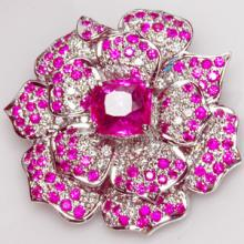 Pink Sapphire & Diamond Floral Pendant / Brooch