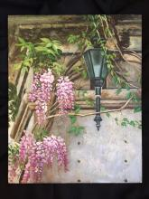 20thc Oil on Board Painting, Springtime Wisteria
